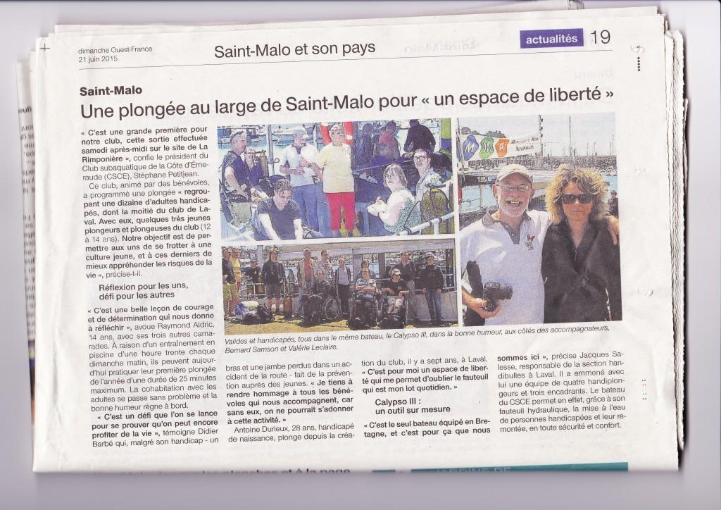 Ouest France 21 juin 2015