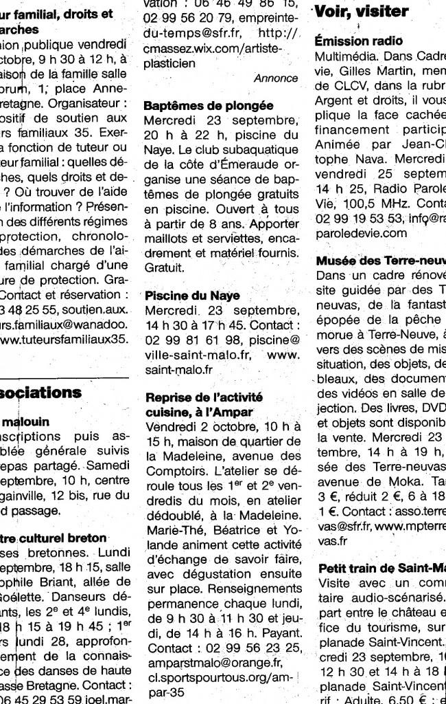 Ouest France 23 Septembre 2015